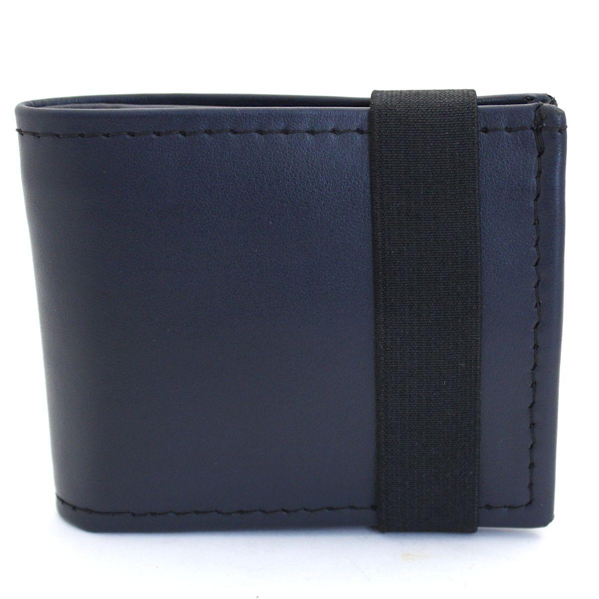 естествена кожа мъжки портфейл тъмно син с ластик