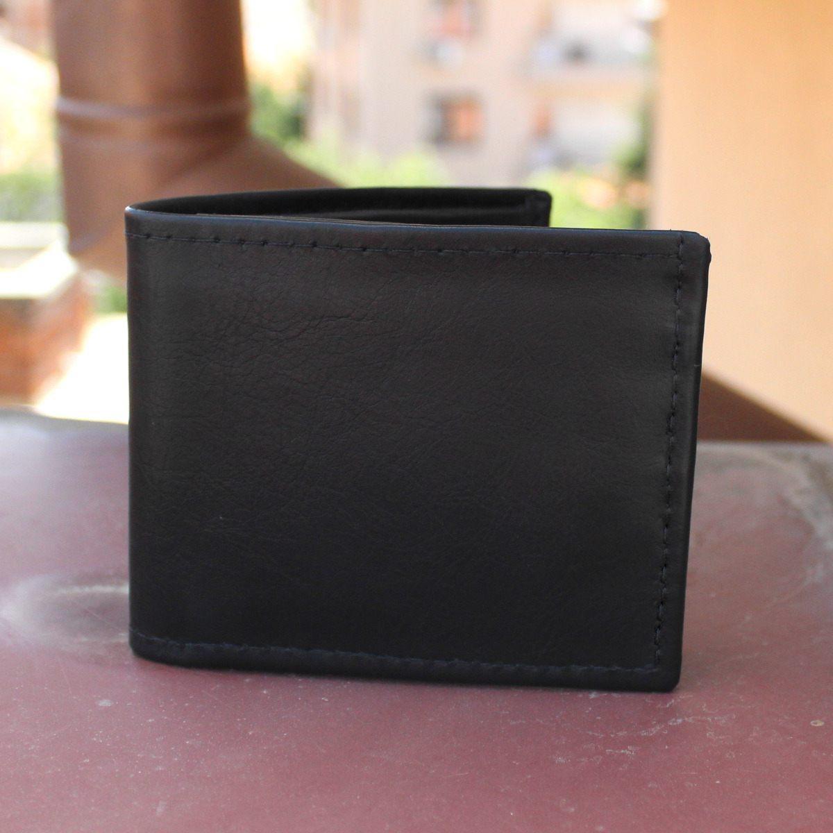 кожен портфейл лукс в черно - отпред