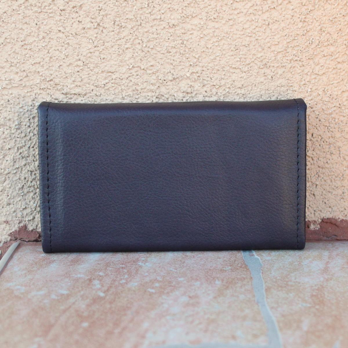 лилаво дамско портмоне естествена кожа - отзад
