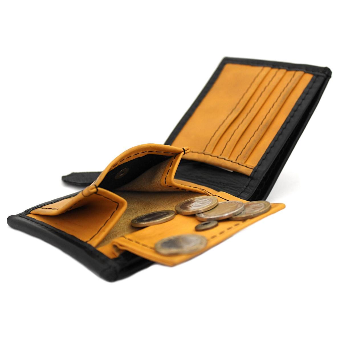 мъжки кожен портфейл в черно и жълто - монетник