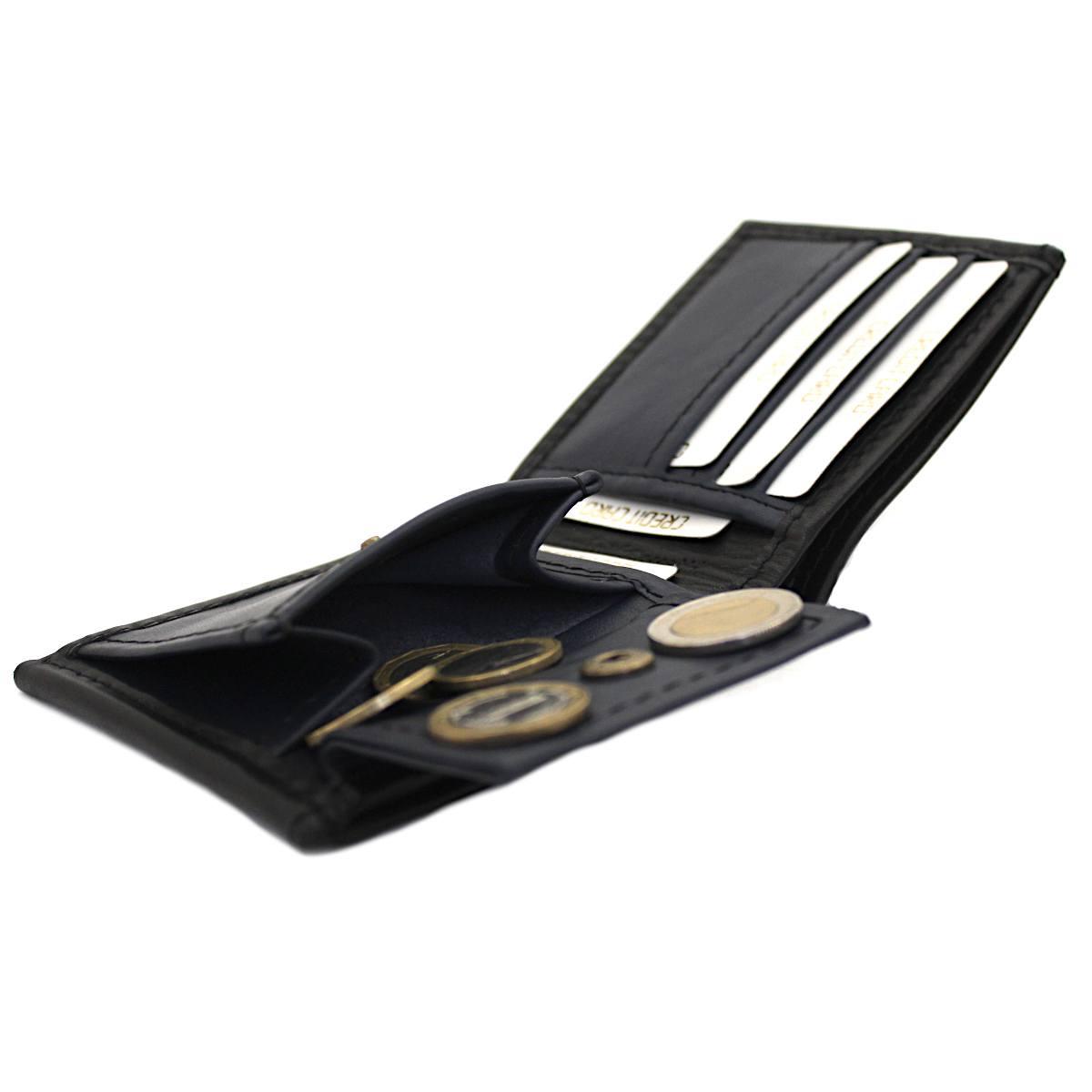 мъжки кожен портфейл черно/тъмно синьо - монетник