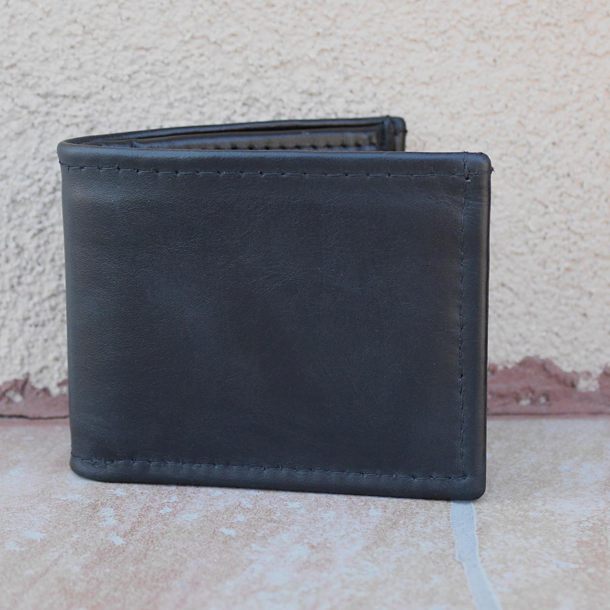 мъжки кожен портфейл черно/тъмно синьо - отпред
