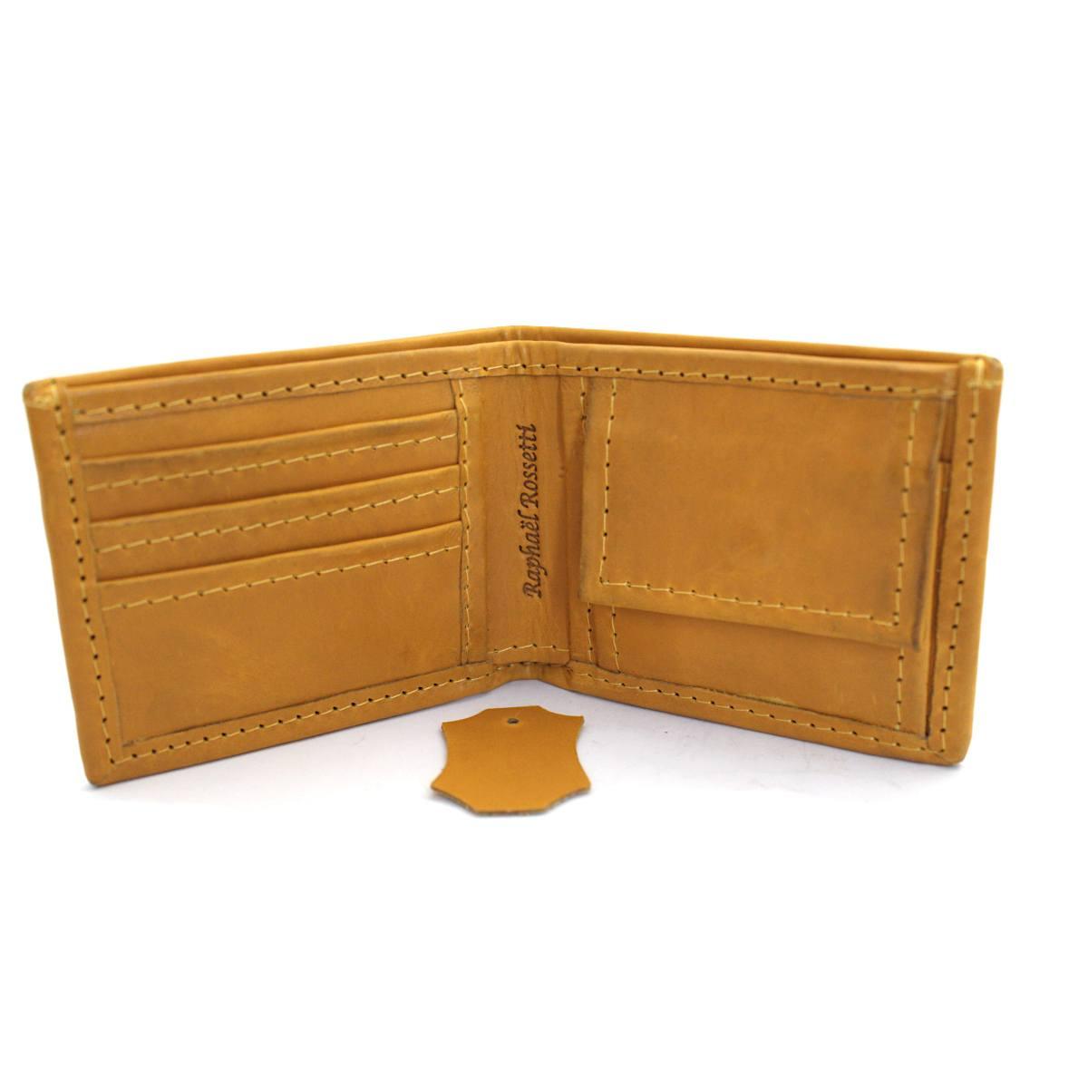 мъжки портфейл естествена кожа жълт - карти
