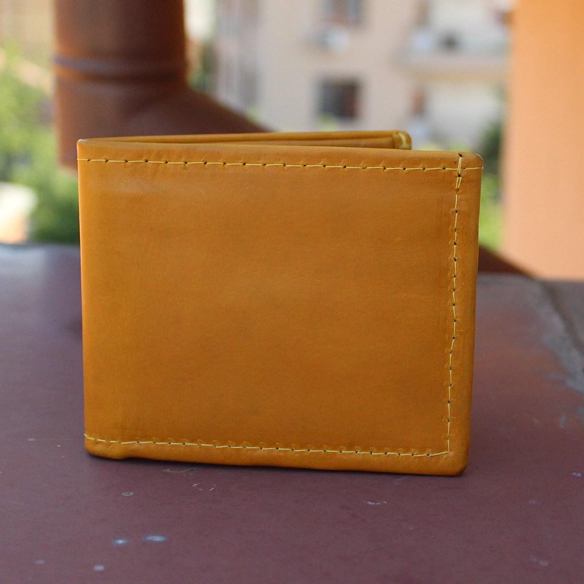 мъжки портфейл естествена кожа жълт - отпред