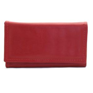 червено дамско портмоне от естествена кожа