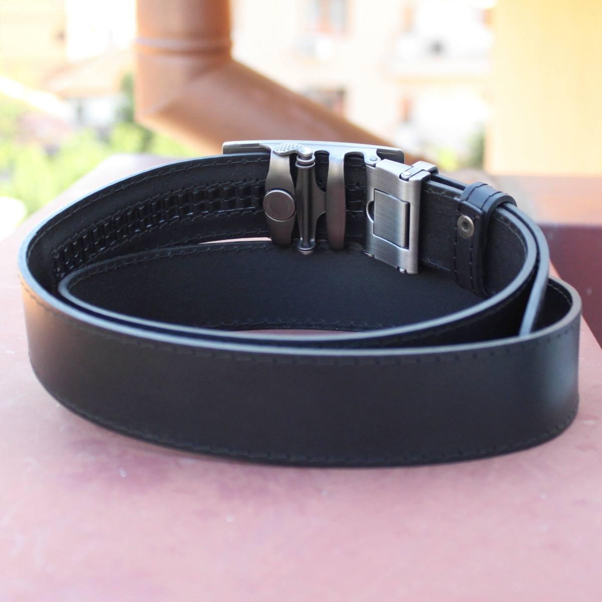 черен автоматичен кожен колан с шев - механизъм