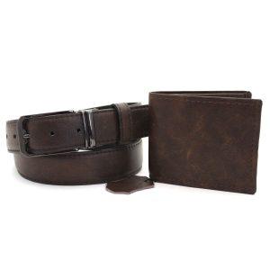 мъжки портфейл и колан тъмно кафяв